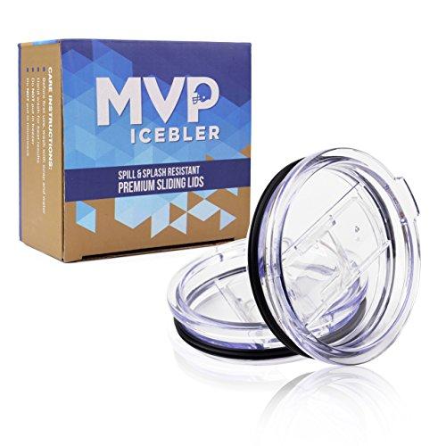 2 Splash Proof and Spill Resistant Premium Replacement Slider Lids with Slider Closure - Fits YETI Rambler, RTIC, Ozark Trail Tumblers - Straw Friendly - BPA Free - MVP ICEBLER (30 oz., 2 pack)