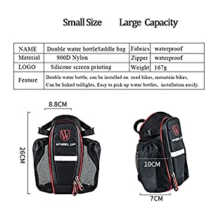 Bike Bag,Tekool & Wheel Up Bicycle Strap-On Bike Saddle Bag Bicycle Seat Pack Bag,Waterproof Pack Pouch for Road Bicycle Cycling Cargo Boxes Panniers Rack Trunks(Black & Red)