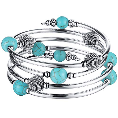 Pearl&Club Beaded Chakra Bangle Turquoise Bracelet - Fashion Jewelry Wrap Bracelet with Thick Silver Metal and Mala Beads, Birthday Gifts for Women (63-Turquoise)