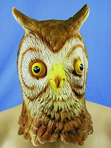HMS Owl Realistic Animal Mask Latex, Brown, One Size -