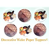 """12 CORNUCOPIA & ACORNS Decorative Wafer Paper Toppers © CUPCAKE TOPPERS SMALL 1.5"""" Diameter Size FALL THANKSGIVING AUTUMN HARVEST"""