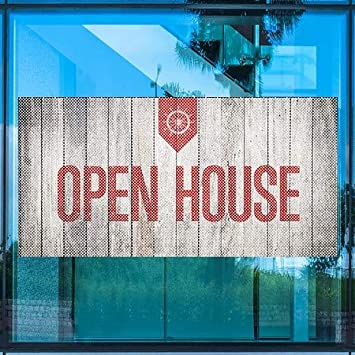 CGSignLab Open House Nautical Wood Perforated Window Decal 96x48