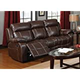 Coaster Myleene Chestnut Leather Three Seat Reclining Sofa with Pillow Arms