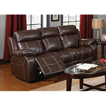 Amazoncom Espresso Bonded Leather Reclining Motion Sofa By - What is a motion sofa