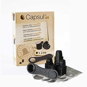 Capsul Capsulin - Capsule ricaricabili per sistema Nespresso, confezione da 100