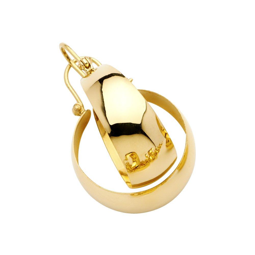 14k Yellow Gold Plain Graduated Hoop Earrings, 20mm X 20mm