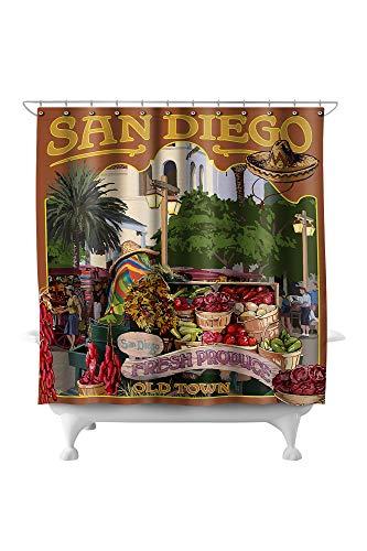 Lantern Press San Diego, California - Old Town 31807 (74x74 Polyester Shower Curtain) (Barrel & Crate San Diego)