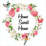 Paper Plane Design Wall Sticker for Living Room, Bedroom, Hall, Kitchen Decor   Home Sweet Home, Flowers and Birds   PVC Vinyl   Pack of 1 (60 cm x 60 cm)