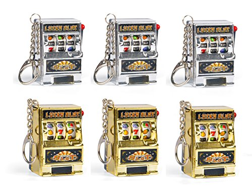 Liberty Imports Set of 6 Mini Casino Lucky Slots Jackpot Slot Machine Keychains