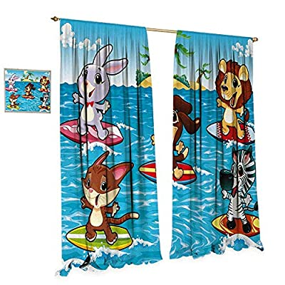Anniutwo Animal Waterproof Window Curtain Cute Animals are Surfing in Sea and Tropical Palm Trees Illustration Print Blackout Draperies for Bedroom Sky Blue and Brown