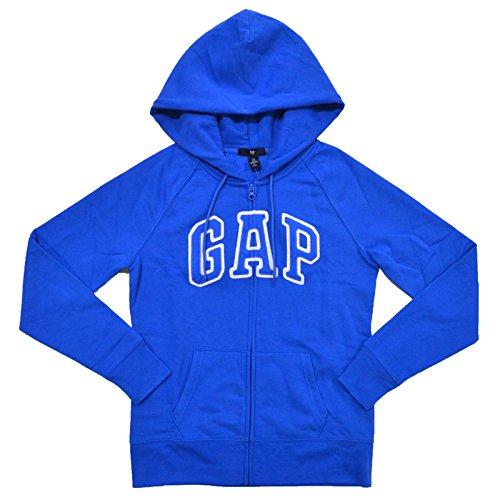 GAP Womens Fleece Arch Logo Full Zip Hoodie (Blue, XS)