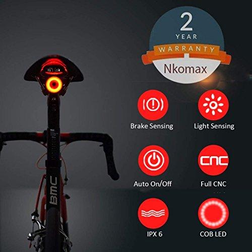 Nkomax Smart Bike Tail Light with Extra Straps (New Installation Method)