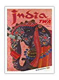 India - Adorned Elephant - Trans World Airlines Fly TWA Jets - Vintage Airline Travel Poster by David Klein 1960 - Fine Art Print - 44in x 60in