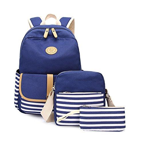 (Abshoo Causal Travel Canvas Rucksack Backpacks for Girls School Bookbags Set (Navy Set))