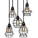 Best Choice Products 5-Light Industrial Metal Hanging Pendant Lighting Fixture w/Adjustable Cord Lengths – Black