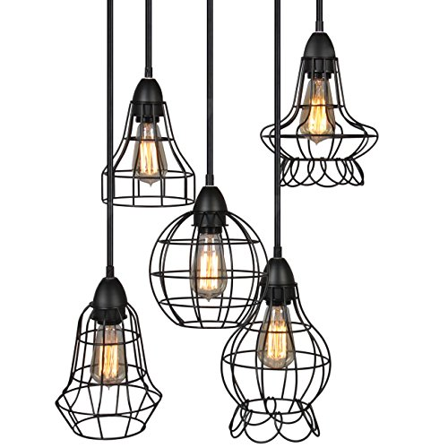 Best Choice Products 5-Light Industrial Metal Hanging Pendant Lighting Fixture w Adjustable Cord Lengths – Black