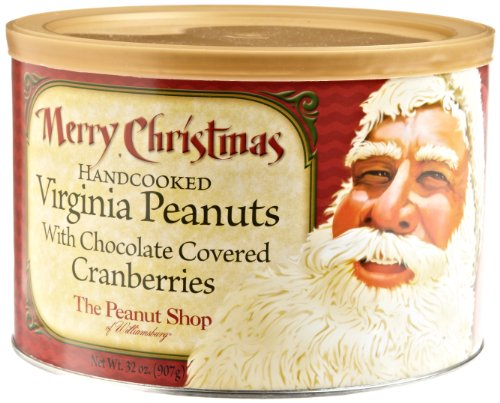 The Peanut Shop of Williamsburg Merry Christmas Santa Mix, 32-Ounce Tin (Christmas Tin Santa)