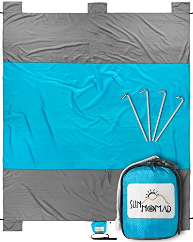 Sun Nomad Ripstop Beach & Picnic Blanket - Oversized 7'x 9' Family Mat - Cool Unique Present Idea, for Him, Her, Men, Women & Kids - Best Camping Present & Top Christmas Gift 2017 for Outdoor Lovers Best Christmas Gift Ideas
