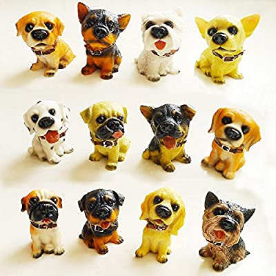 12pcs Puppy Pet Mini Ornament Dog Figure Resin Statue Detailed Collectable Gift Box