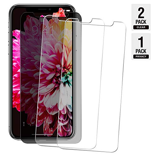 iPhone XR Screen Protector Compatible, HD 1 Privacy and 2 Clear (1+2)