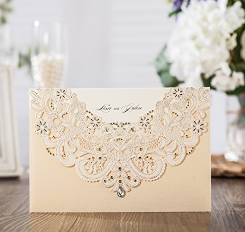 Wishmade 100x Gold Laser Cut Flora & Lace Wedding Invitations Kit With Rhinestone Matched With RSVP & Thank You Card CW6115