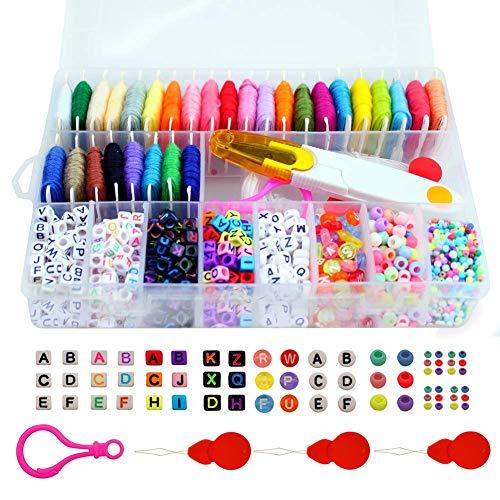 (Friendship Bracelet Making Beads Kit, Letter Beads, 22 Multi-Color Embroidery Floss