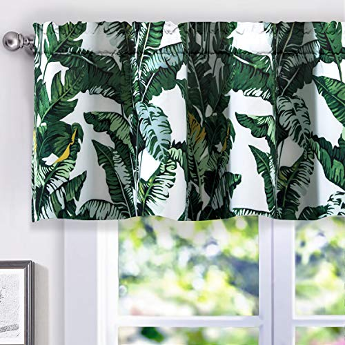 DriftAway Tropical Leaves Botanic Pattern Lined Thermal Insulated Energy Saving Window Curtain Valance for Living Room, 2 Layer, Rod Pocket, 52