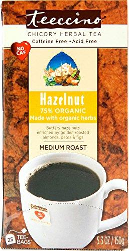 Teeccino Herbal Coffee, Hazelnut, Caffeine-At will, 25-Count Tea Bag