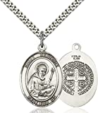 Sterling Silver Catholic Patron Saint Medal Pendant, 1 Inch
