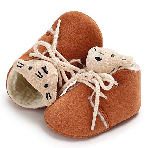 Brown 12cm Alamana Lovely Animal Head Baby Infant Soft Sole Warm Anti-Slip Prewalker Toddler Shoes