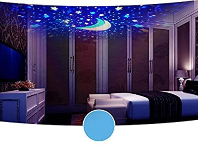 Night Lights for Kids, Stars Moons Light Rotating Projector, Baby Bed Room lamp, 360 Degree Romantic Room Rotating Cosmos USB Cable, 4 LED Bulbs 8 Modes, Great Gifts for Christmas