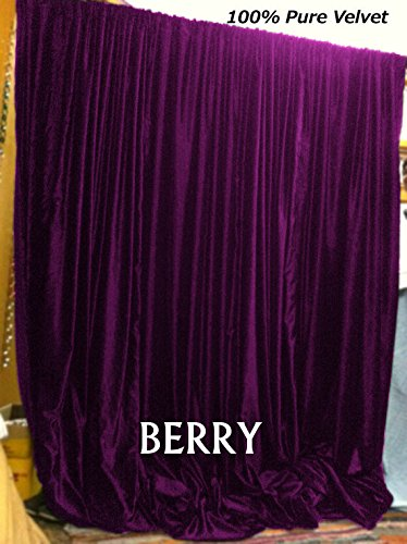 Doublewide VELVET CURTAIN Blackout Drape - BERRY Color , Lined Curtain Drapes made from 100% COTTON VELVET Theater| Bedroom| Living Room| Hotel (100 x 96) by beddingNdecor (Image #1)