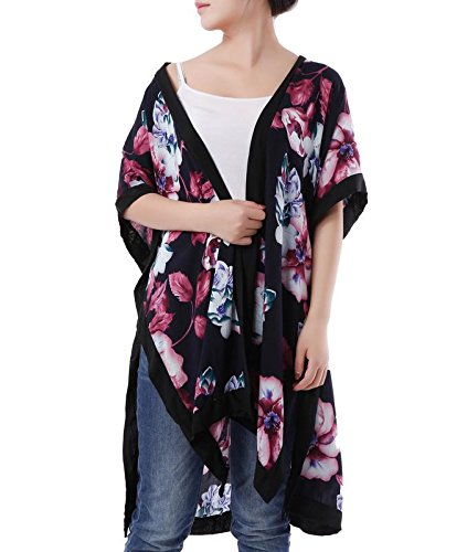 YCOOL Women's Floral Kimono Cardigan Capes Long Sheer Loose Beach Cover Up Tops Black