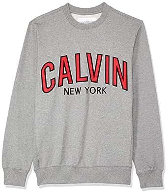 Calvin Klein Jeans Men's Graphic Crew Neck Sweatshirt, Grey Heather, S