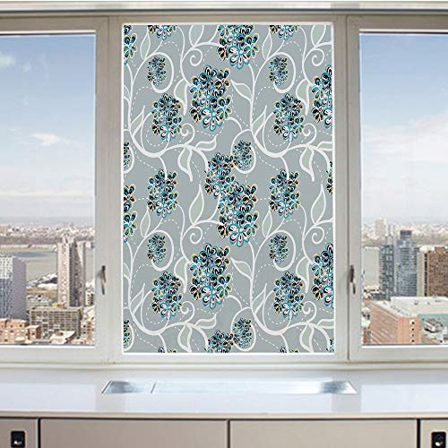 - 3D Decorative Privacy Window Films,Swirls Daisy Flower Bouquets Beauty Exquisite Flourishing Nature Essence Decorative,No-Glue Self Static Cling Glass film for Home Bedroom Bathroom Kitchen Office 17.