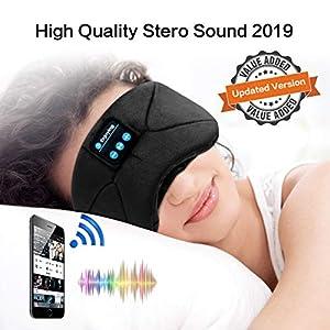 WU-MINGLU Bluetooth Eye Mask Sleep Headphones, Wireless Music Sleep Mask Noise Cancelling Sleeping Headphone Comfy & Washable Perfect for Side Sleepers(2020 Version)