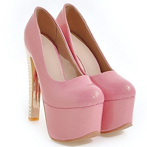 Taoffen Slip Western Party Stiletto On Scarpa Donna Rosa 442 Platform rqZw1pr