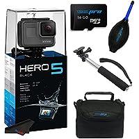 GoPro Hero 5 Black + 16GB SD Memory Card + Selfie Stick + Accessory Bundle