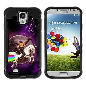 ZAKO Cases / Samsung Galaxy S4 I9500 / Funny Unicorn Rainbow / Robusto Prueba de choques Caso Billetera cubierta Shell Armor Funda Case Cover Slim Armor