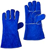 MIG Welder - US Forge 400 Welding Gloves Lined Leather, Blue - 14
