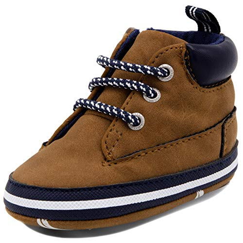 Sneaker Sole Charm - Nautica Tiny Quinton, Baby Prewalker, Crib Sneakers, Toddler/Infant Soft Sole Shoes Brown-4