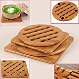 Zinnor Bamboo Pot Holder Pad Trivets Heavy Duty Soup Grilled Hot Expandable Kitchen, Teapot Trivet, Pack of 4 (Square and Round) Non-slip