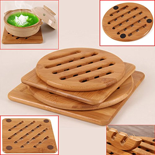 Expanding Trivet (Zinnor Bamboo Pot Holder Pad Trivets Heavy Duty Soup Grilled Hot Expandable Kitchen, Teapot Trivet, Pack of 4 (Square and Round) Non-slip)