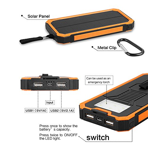 Solar Charger 15000mAh Elzle convenient Solar ability Bank raise USB Backup Battery Pack Charger Outdoor Solar cellular phone External Battery Charger together with 6 Led Flashlight For iPhone Series wise cellular phone a lot more Solar Chargers