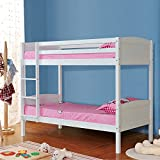 mecor Bunk Beds Frame, Solid Pine Wood Double 3FT Single Splits Into 2 Single Beds for Kids Childrens Adults, 198 x 151.6 x 101.5 cm (White)