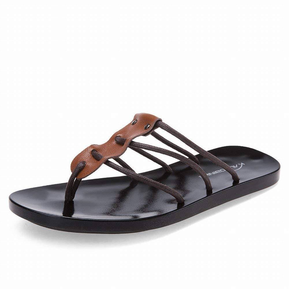 Oudan Mode Leder Flip Flop Komfort All-Match Sandalen Rutschfeste Rutschfeste Rutschfeste Verschleiß Hausschuhe (Farbe   Schwarz Größe   39) 4534a9