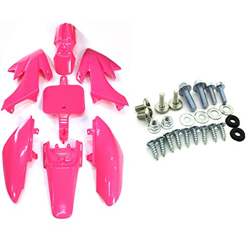 Dirt Kits Bike Plastic (TC-Motor Pink Fender Body Work Plastic Fairing Kit + Complete Mounting Screws Kits For Honda XR50 CRF50 Pit Dirt Bike 50cc 70cc 90cc 110cc 125cc 150cc 160cc GPX Braaap)