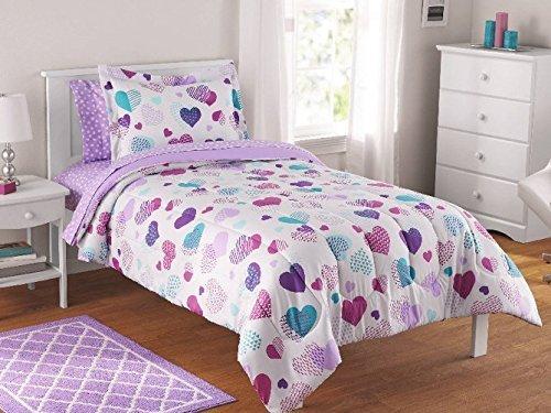 Girls Twin Bedding Sets - Luxlen Kids Bed in a Bag - BIAB (Twin, Hearts),