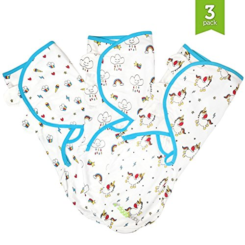 Swaddle Blanket, Adjustable Infant Baby Wrap Set by Ziggy Baby (3 Pack) Unicorn, Rainbow, Cupcake