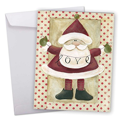 Holding Banner (J6659BXSG Jumbo Merry Christmas Greeting Card: Santa Banners, Featuring a Sweet Santa Holding a Banner of Inspirational Holiday Words With Envelope (Giant Size: 8.5